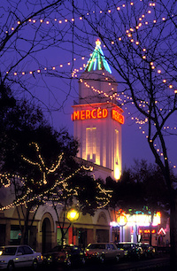 Picture of the Merced Theatre tower at night